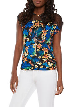 Mesh Yoke Tropical Print Top with Necklace - 3033058758527
