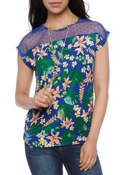 Mesh Yoke Tropical Print Top with Necklace - RYL BLUE - 3033058758527