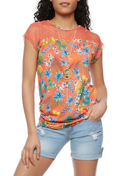 Mesh Yoke Tropical Print Top with Necklace - CORAL - 3033058758527