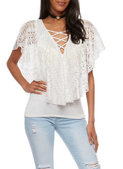 Caged Lace Overlay Top with Choker - 3033058758544