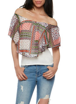 Off the Shoulder Top with Printed Chiffon Overlay - 3033058758560