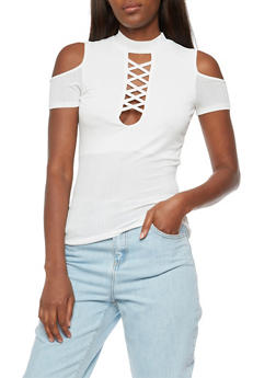 Lace Up Choker Cold Shoulder Top - 3033058758586