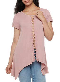 Short Sleeve Sharkbite Top with Metal Detail - MAUVE - 3033058758899