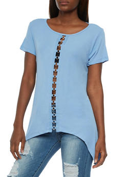Short Sleeve Sharkbite Top with Metal Detail - 3033058758899