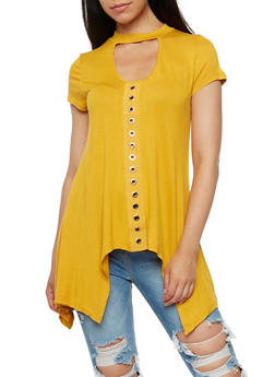 Asymmetrical Choker Neck Top - 3033058758901