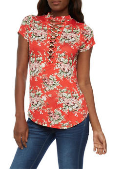 Floral Lace Up Choker Top - CORAL - 3033058758975