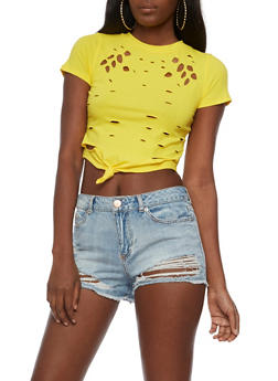 Laser Cut Tie Front Crop Top - 3033058759037