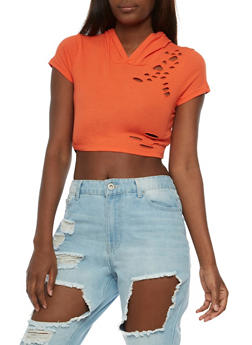 Hooded Laser Cut Crop Top - 3033058759043