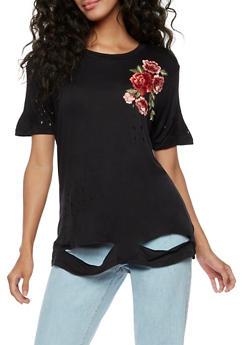 Rose Applique Laser Cut T Shirt - 3033058759142