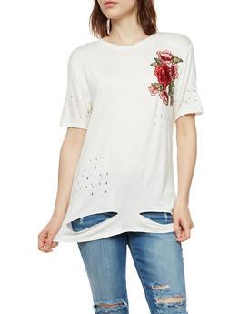 Rose Applique Laser Cut T Shirt - WHITE - 3033058759142