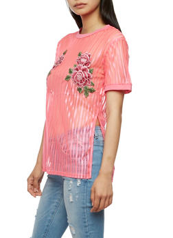 Floral Applique Short Sleeve T Shirt - 3033058759178