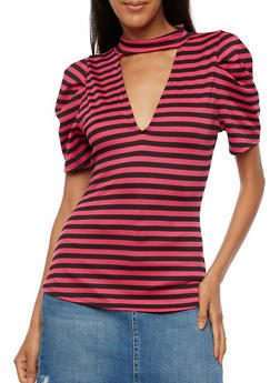 Striped Choker Neck Top - 3033058759270