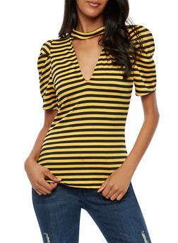 Striped Choker Neck Top - BLK/MUSTARD - 3033058759270