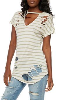 Short Sleeve Striped Laser Cut Top - 3033058759272