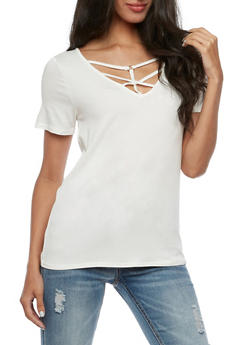 Short Sleeve Caged Front Top - 3033058759273