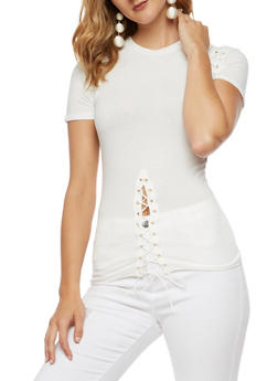 Solid T Shirt with Lace Up Accents - WHITE - 3033058759289