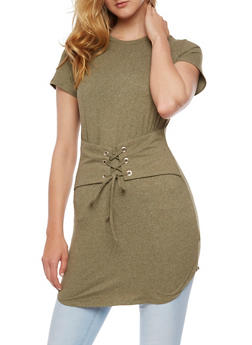 Short Sleeve Tunic Top with Corset Belt - OLIVE - 3033058759294