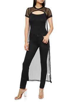 Short Sleeve Mesh Cut Out Maxi Top - 3033058759376