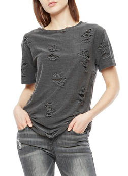 Short Sleeve Shredded T Shirt - 3033058759481