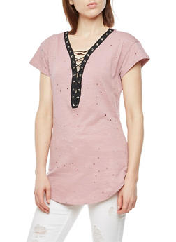 Short Sleeve Lace Up Perforated Top - 3033058759562