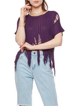 Ribbed Knit Shredded Short Sleeve Top - 3033058759658