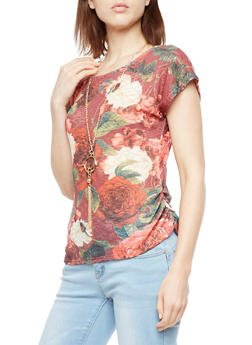 Floral Ruched Sides Top with Necklace - 3033058759914