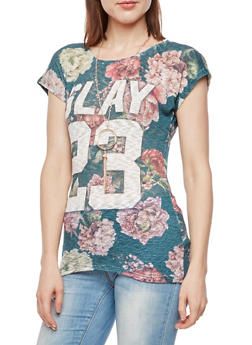 Slay 23 Graphic Floral Top with Necklace - 3033058759932