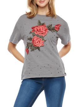 Laser Cut T Shirt with Floral Applique - 3033058759935