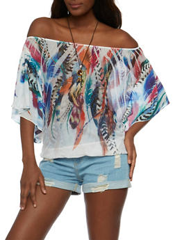 Off the Shoulder Feather Print Mesh Top with Necklace - 3033067330031