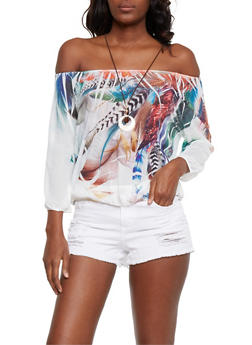 Feather Print Off the Shoulder Top with Necklace - 3033067330032