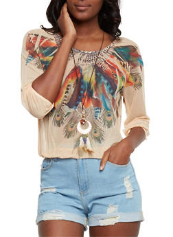 Feather Print Mesh Top with Necklace - 3033067330033