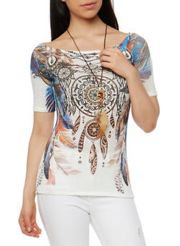 Dream Catcher Graphic Knit Top with Necklace - 3033067330034
