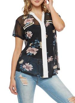 Mesh Floral Blouse - 3033067330082