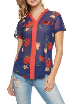 Mesh Floral Blouse - NAVY - 3033067330082