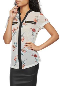 Short Sleeve Mesh Floral Print Top - 3033067330083