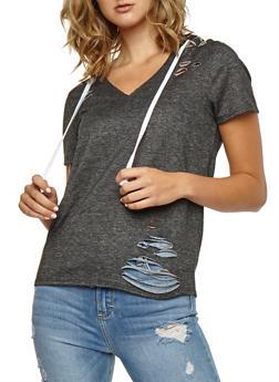 Laser Cut Hooded T Shirt - 3033067330102