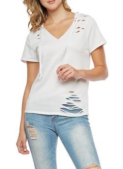 Laser Cut Hooded T Shirt - WHITE - 3033067330102