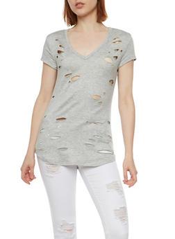 Short Sleeve V Neck Lasercut T Shirt - 3033067330108