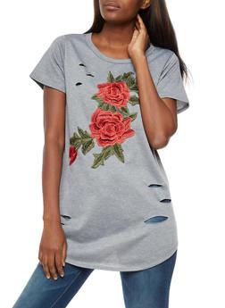 Laser Cut Floral Applique Tunic Top - 3033067330109