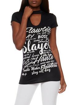Flawless Graphic Choker T Shirt - BLACK - 3033067330117