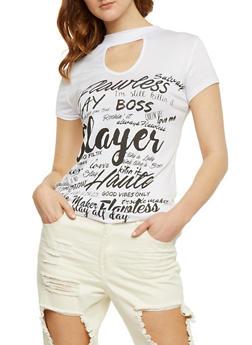 Flawless Graphic Choker T Shirt - WHITE - 3033067330117