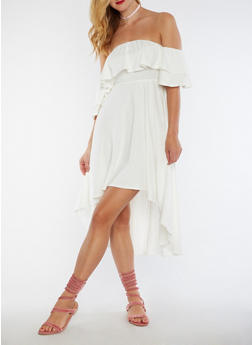 Off the Shoulder High Low Dress - WHITE - 3033067330126