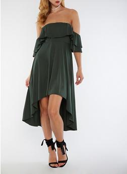Off the Shoulder High Low Dress - 3033067330126