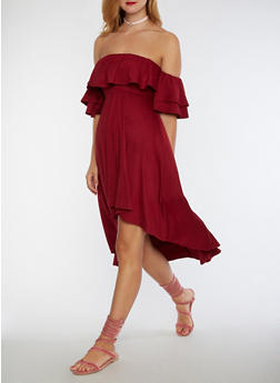 Off the Shoulder High Low Dress - BURGUNDY - 3033067330126