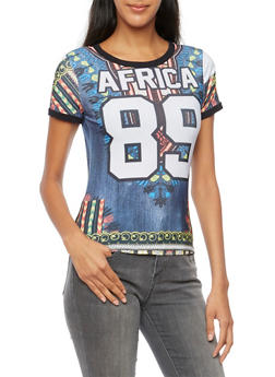 Dashiki Print Tee with Africa 89 Graphic - 3033067330162
