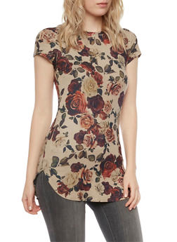 Brushed Knit Tunic Top in Floral Print - 3033067330179