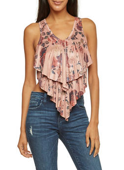 Tiered Ruffle Tank Top in Floral Print - 3033067330180