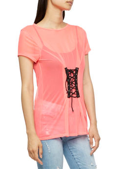 Lace Up Front Mesh T Shirt - 3033067330225