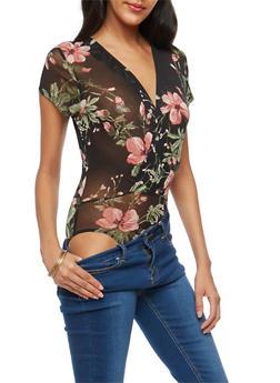 Floral Mesh Wrap Bodysuit - 3033067330240