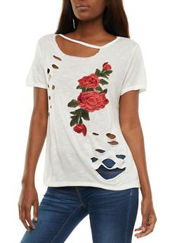 Floral Applique Lasercut T Shirt - 3033067330814